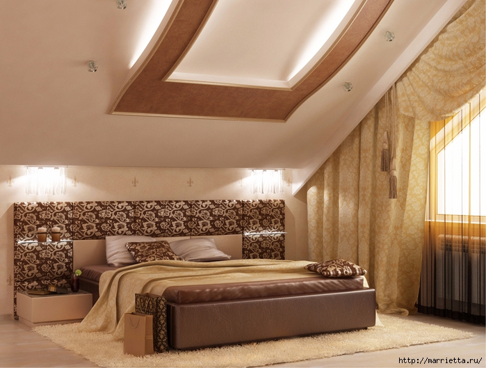 Интерьер спальни в мансарде (12) (700x529, 282Kb)
