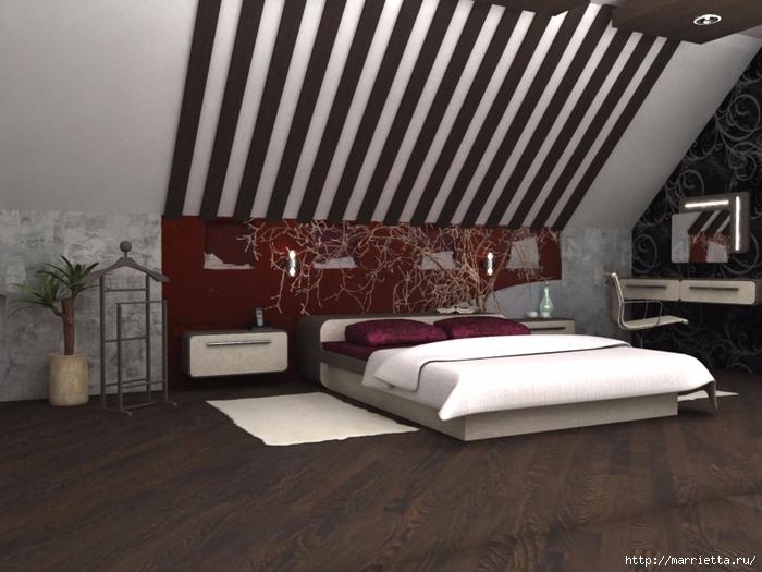 Интерьер спальни в мансарде (13) (700x525, 254Kb)