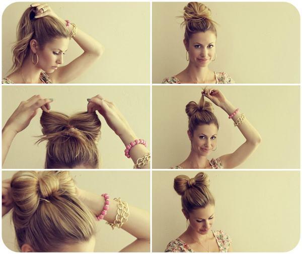Как сделать из волос бантик на голове
