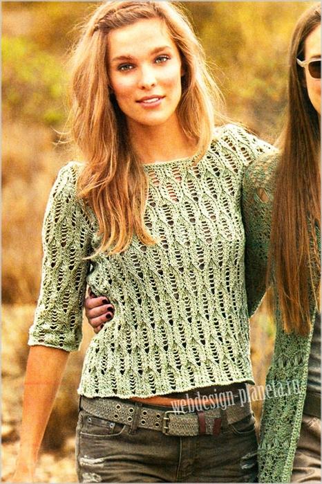 olivkovyj-azhurnyj-pulover-spitsami-s-opisaniem-foto (466x700, 338Kb)