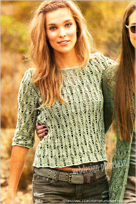 olivkovyj-azhurnyj-pulover-spitsami-s-opisaniem-foto (466x700, 346Kb)