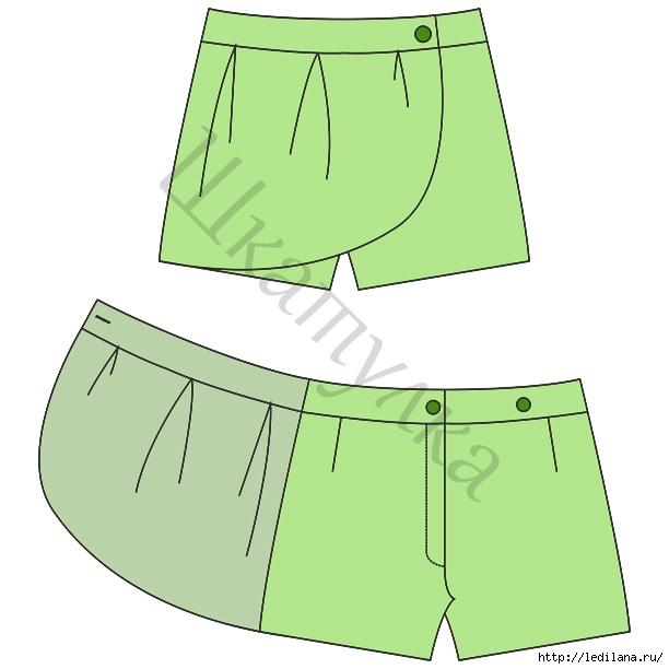 Выкройка юбки-шорт для девочки