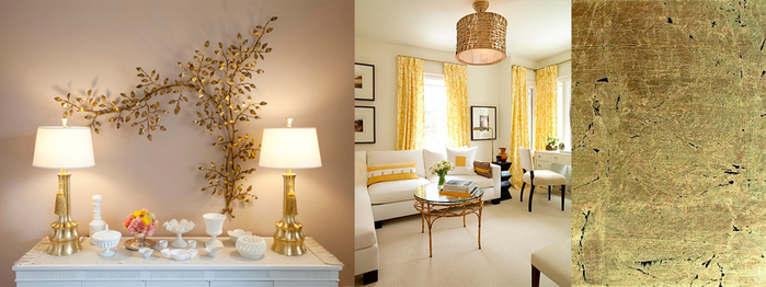 Сочетание цветов в интерьере с золотом
