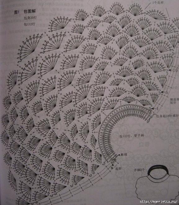 Узор для вязания крючком сумочки (3) (577x659, 330Kb)