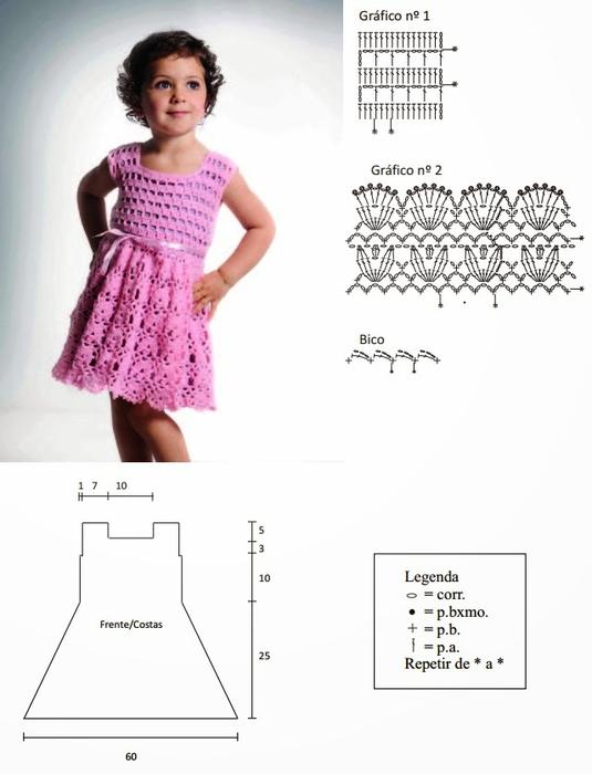 Пошаговое вязания крючком платья для девочки