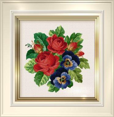 _017 Roses and Pansies (372x383, 120Kb)
