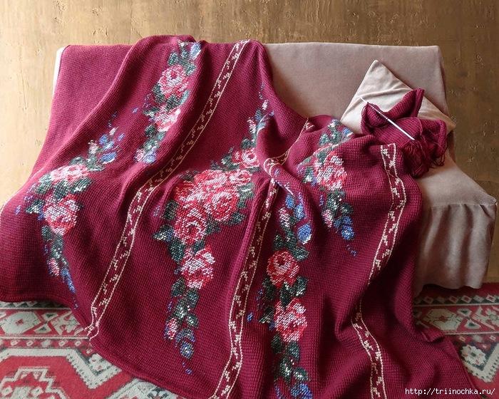 Тунисский плед с вышивкой