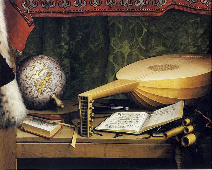 The_Ambassadors,_detail_of_globe,_lute,_and_books,_by_Hans_Holbein_the_Younger (700x560, 96Kb)