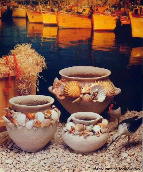 Морской стиль. Декор цветочных глиняных горшков (1) (500x601, 310Kb)