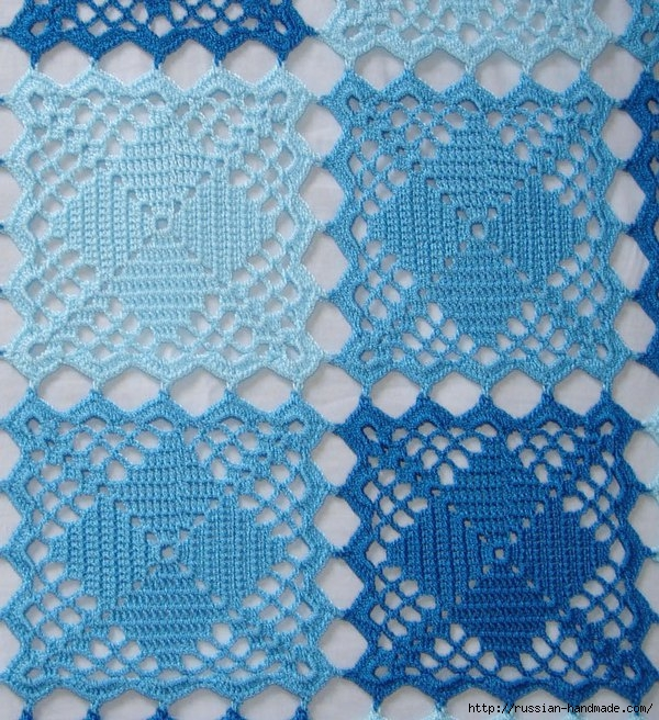 Голубое покрывало крючком со схемой (2) (600x656, 351Kb)
