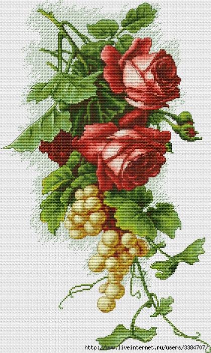 Красные розы виноград вышивка