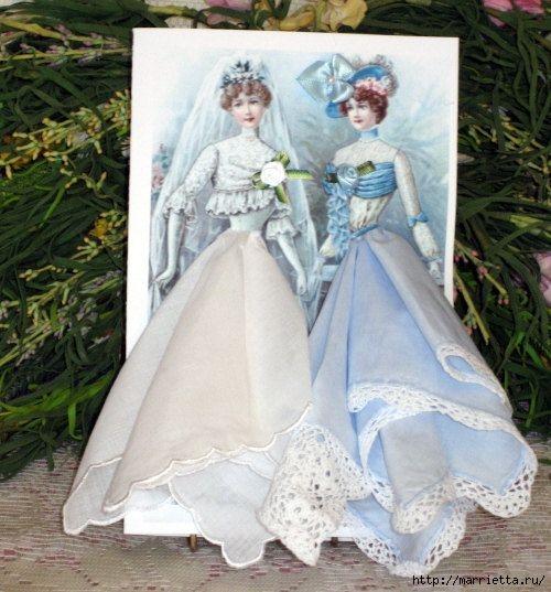 Винтажные открытки с дамами в юбках из носовых платков (2) (500x537, 169Kb)