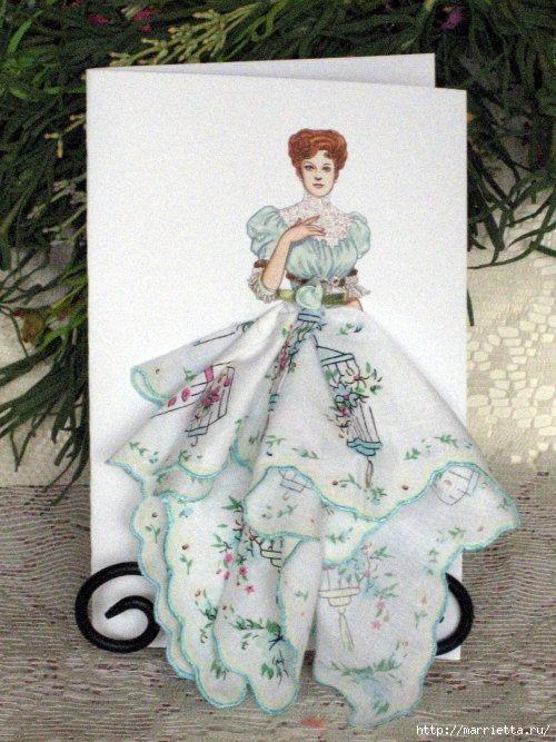Винтажные открытки с дамами в юбках из носовых платков (3) (500x667, 222Kb)