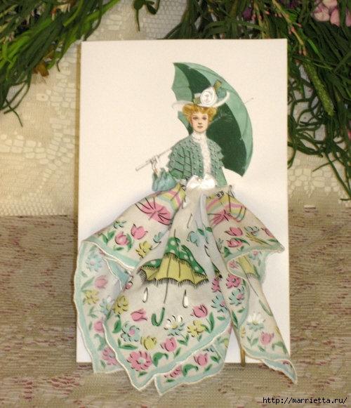 Винтажные открытки с дамами в юбках из носовых платков (11) (500x581, 192Kb)