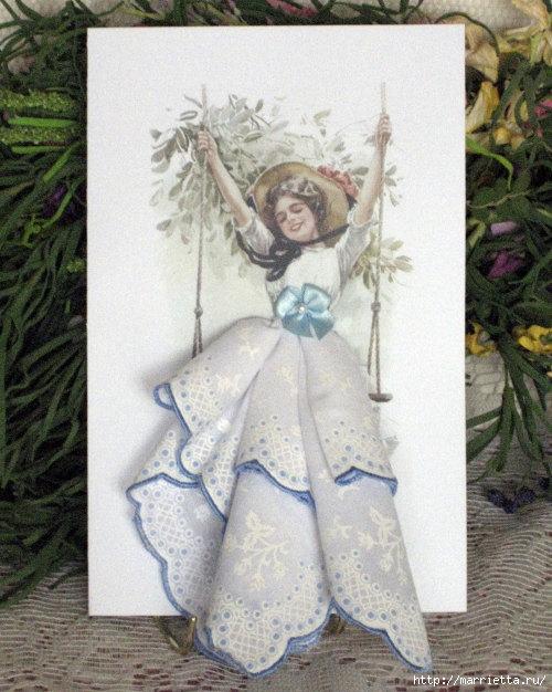 Винтажные открытки с дамами в юбках из носовых платков (33) (500x626, 226Kb)