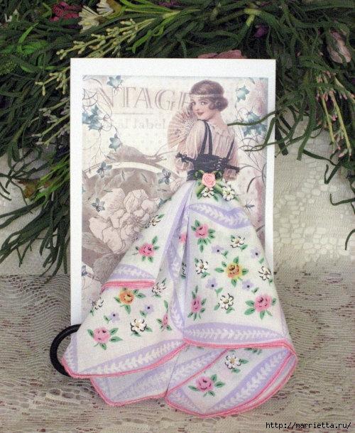 Винтажные открытки с дамами в юбках из носовых платков (39) (500x610, 245Kb)