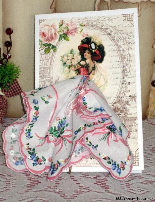 Винтажные открытки с дамами в юбках из носовых платков (43) (500x652, 237Kb)