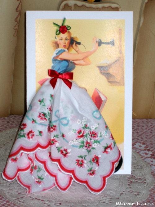 Винтажные открытки с дамами в юбках из носовых платков (46) (500x667, 198Kb)