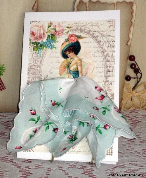 Винтажные открытки с дамами в юбках из носовых платков (48) (500x610, 209Kb)