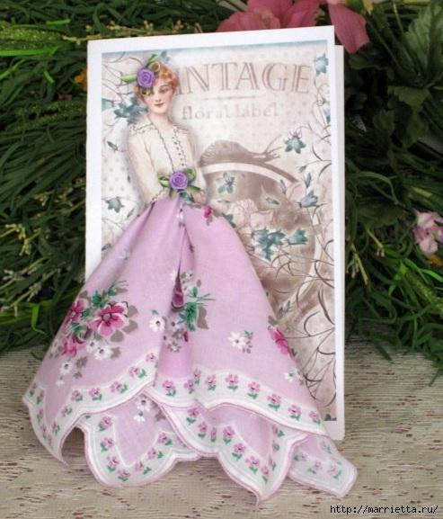 Винтажные открытки с дамами в юбках из носовых платков (54) (493x577, 191Kb)