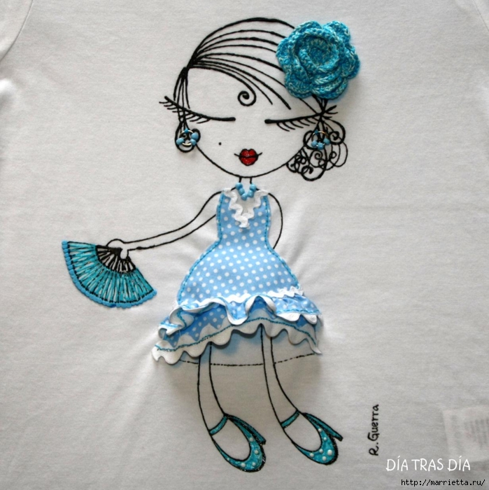 Аппликация с вышивкой на детских футболках (10) (699x700, 313Kb)