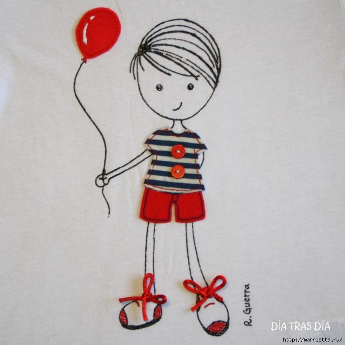 Аппликация с вышивкой на детских футболках (18) (700x699, 261Kb)