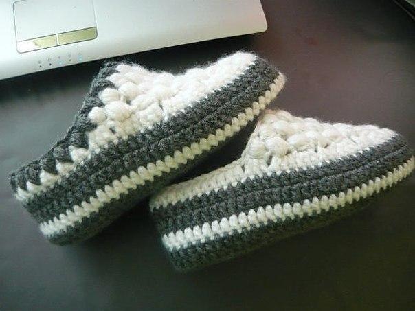 Вязание крючком. Тапочки
