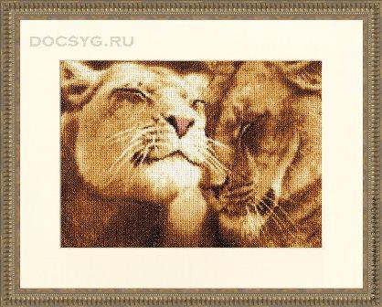 схема вышивки Влюбленные львы