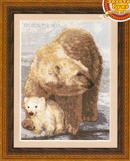 схема вышивки Белые медведи (450x559, 300Kb)