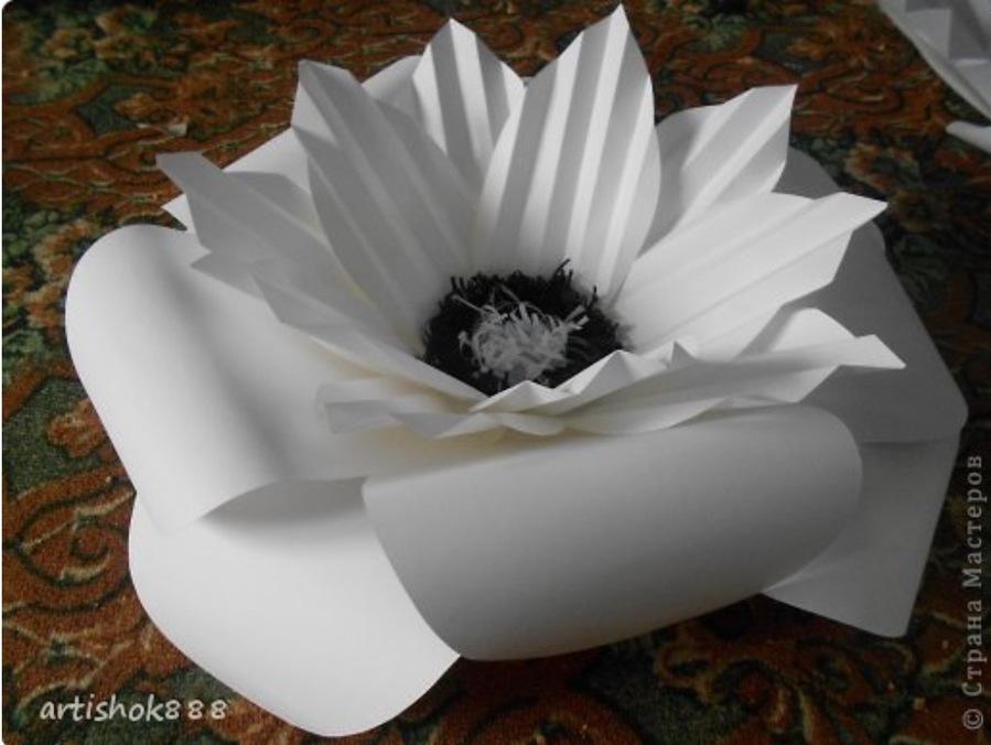 Объемные большие цветы из бумаги своими руками пошаговая инструкция фото