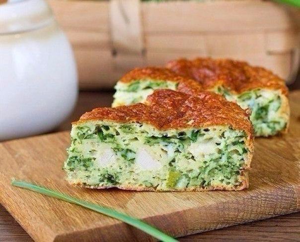 Вкусно-нежный пирог с зеленым луком, курицей и сырной корочкой (604x488, 263Kb)