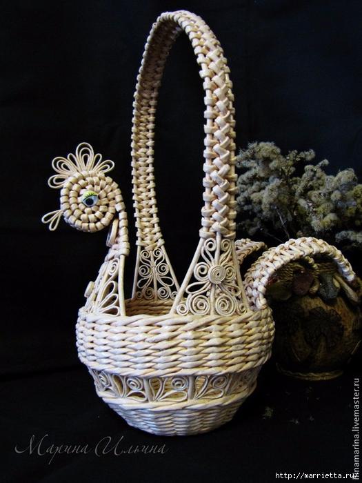 Плетение пасхальной корзинки КУРОЧКИ из газет. Мастер-класс (1) (525x700, 283Kb)