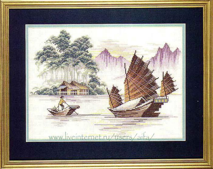 Вышивка крестом лодки 47