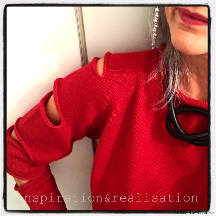 Женский пуловер спицами с прорезями на рукавах (5) (700x700, 322Kb)