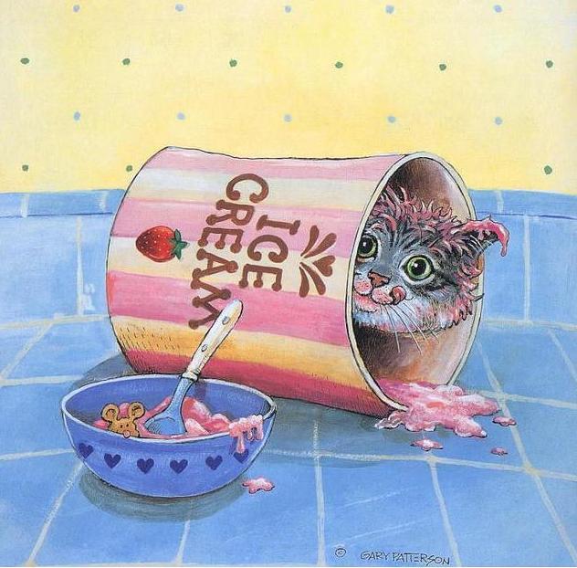 Прикольные нарисованные коты