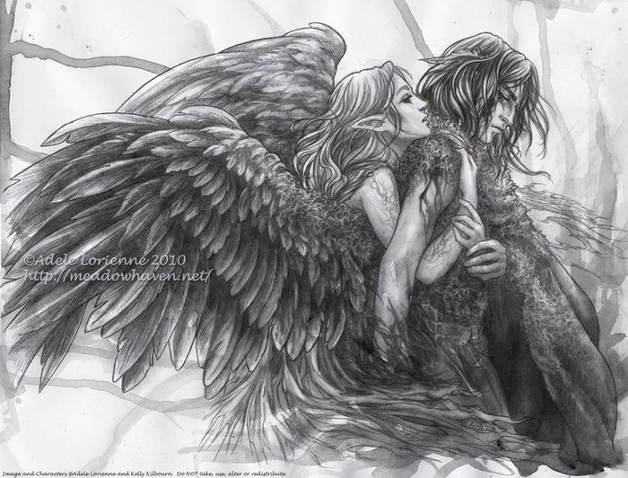 картинки ангелы простым карандашом