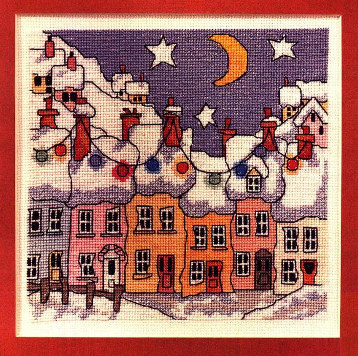 схема вышивки Улочка улица, улочка, зима, ночь.