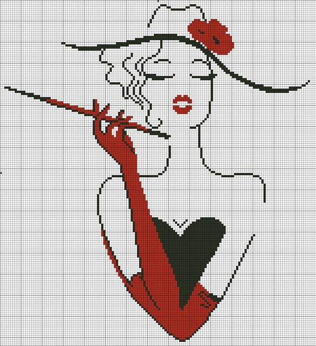 Девушка в шляпе с красной