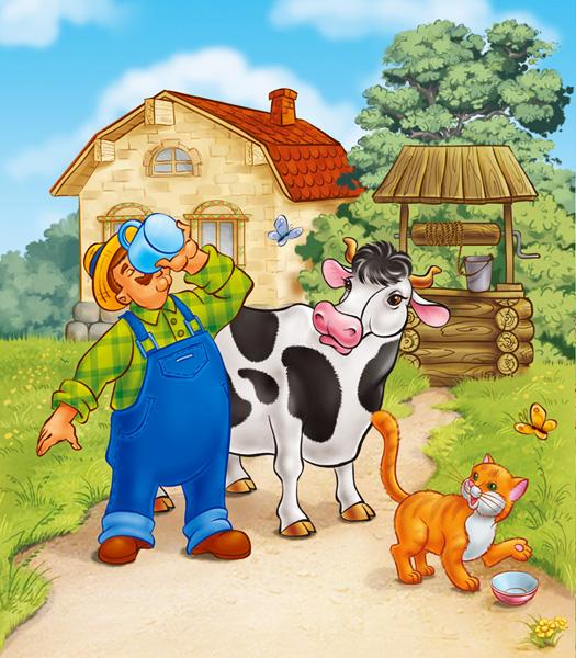Рисунок фермера с коровой
