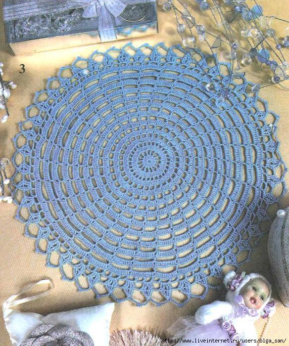 Диаметр: 28 см. Круглая салфетка, вязание крючком по бесплатной схеме.  Схема вязания крючком круглой салфетки.