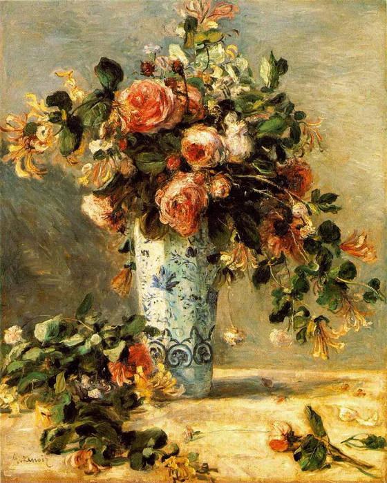 Pierre-Auguste Renoir - Roses et jasmin dans un vase de Del (560x700, 179Kb)