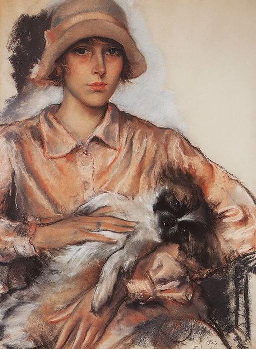 Серебрякова.Портрет Дамы с собачкой. И. Велан. 1926 (513x700, 75Kb)