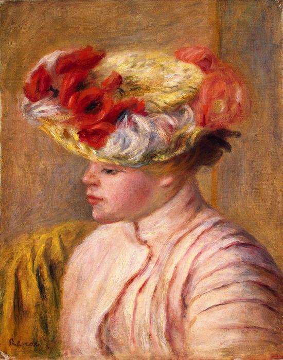 Молодая женщина в шляпе с цветами (550x700, 174Kb)