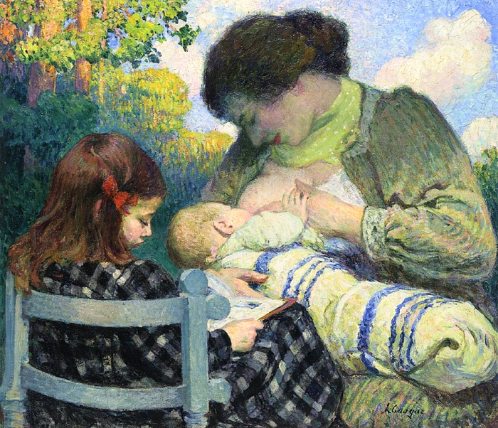 Henri Lebasque.-madame-lebasque-and-her-children-1905 (700x602, 585Kb)
