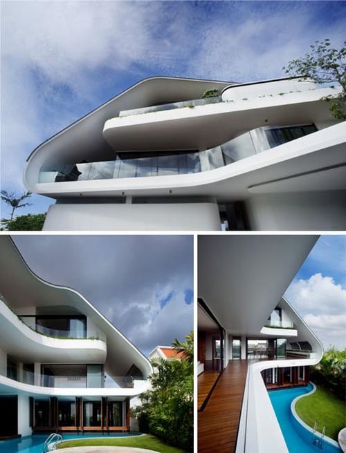 Красивый экзотический дом в Сингапуре
