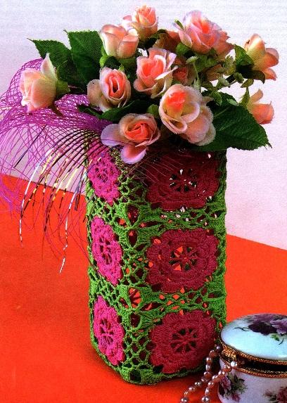 """Вторник, 05 Февраля 2013 г. 16:16. вяжем крючком. вязание для дома. ваза. в цитатник. a href= """"http..."""