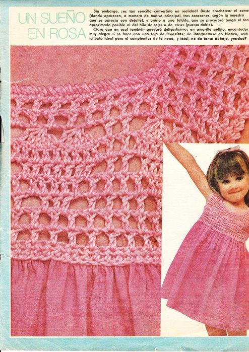 Вязание платья для девочек с кокеткой 697