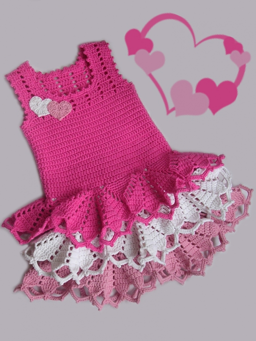 Crochet Patterns Little Girl Dresses : Valentine dress for little girls, crochet pattern ~ Craft , handmade ...