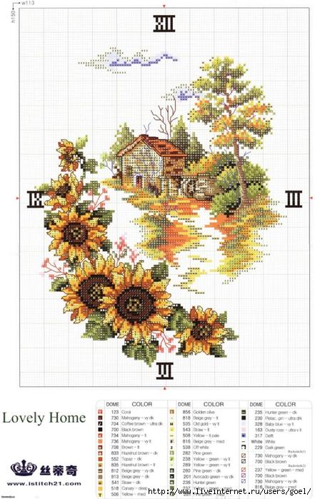 Схема вышивки крестом 'Подсолнухи' скачать бесплатно.  Современная композиция с подсолнухами у окна.