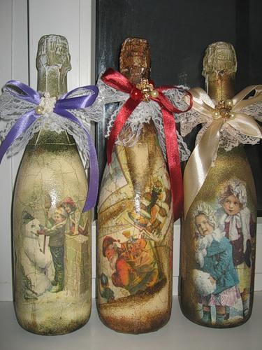 Новогодние бутылки шампанского декупаж